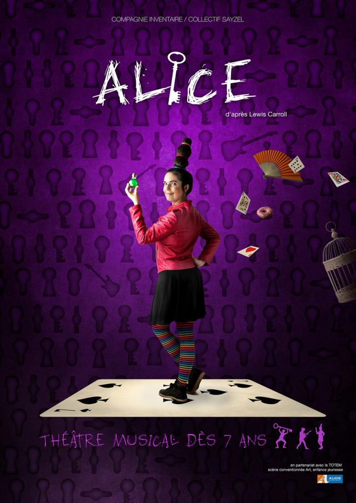 affiche spectacle théâtral et musical Alice adapté d'Alice aux pays des merveilles de Lewis Carroll