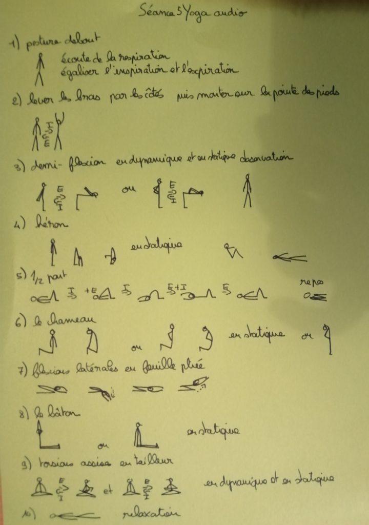 séance 5 de yoga audio postures dessinées le chameau, le demi-pont, la demi flexion avant, le héron le bâton, la torsion assise