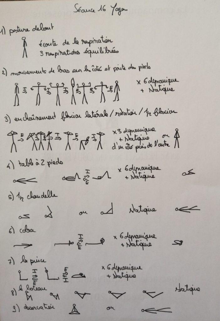 séance yoga posture du bateau, 1/2 chandelle, table à deux pieds, pince, cobra,